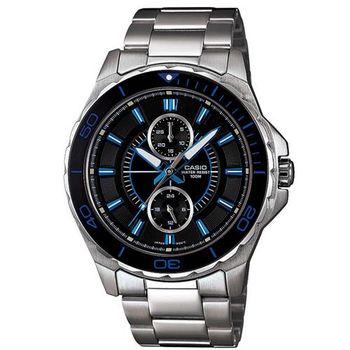 【CASIO】 潛水風計時轉盤指針運動錶-黑面藍針 (MTD-1077D-1A1)