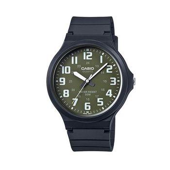 【CASIO】 超輕薄感實用必備大表面指針錶-墨綠x白數字 (MW-240-3B)