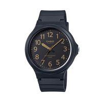 【CASIO】 超輕薄感實用必備大表面指針錶-黑面金色數字 (MW-240-1B2)
