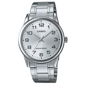 【CASIO】 經典復古時尚簡約指針紳士腕錶-銀白色 (MTP-V001D-7B)