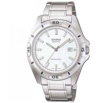 【CASIO】 經典時尚簡約風格指針腕錶-銀白面 (MTP-1244D-7A)