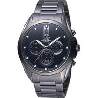 ALBA 雅柏 東京日系三眼計時腕錶 VD53-X264SD 黑 AT3B07X1