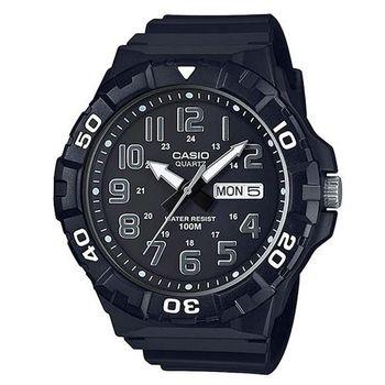 【CASIO】 旋轉計時潛水風三針運動錶-黑 (MRW-210H-1A)