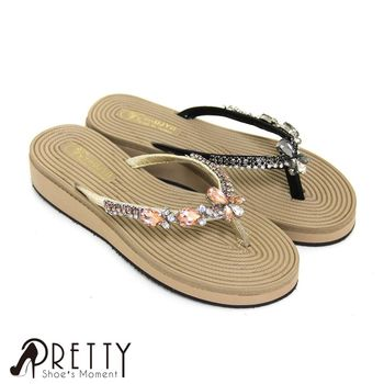 【Pretty】奢華寶石水鑽仿麻繩中底夾腳拖鞋-金色、黑色