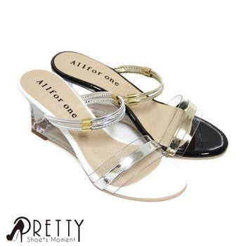 【Pretty】金屬邊條拼接透明寬帶兩穿鏤空楔型涼拖鞋-黑色