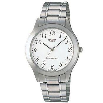 【CASIO】 經典時尚簡約風格指針腕錶-數字白面 (MTP-1128A-7B)
