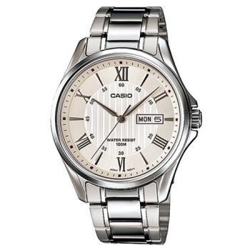 【CASIO】 經典復古羅馬簡約指針紳士腕錶-銀色X白面 (MTP-1384D-7A)