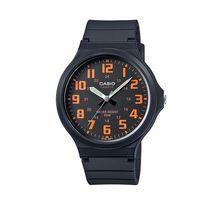 【CASIO】 超輕薄感實用必備大表面指針錶-黑面橘數字 (MW-240-4B)