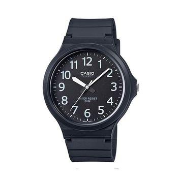 【CASIO】 超輕薄感實用必備大表面指針錶-黑面白數字 (MW-240-1B)