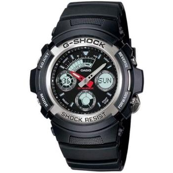 【CASIO】 G-SHOCK系列 強悍霧黑三眼雙顯電子錶-黑 (AW-590-1A)