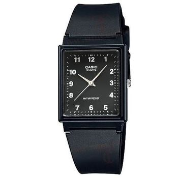 【CASIO】 超輕薄感簡約方型數字休閒錶-數字黑面 (MQ-27-1B)