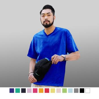 【男人幫】T0074*V領子加厚,不變型【厚款素色V領T恤】黑/白/黃/水藍/红/桃紅