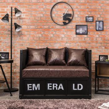 Bernice-蒙马工业风货柜造型沙发双人椅/二人座(两色可选)