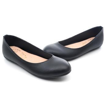 【 101大尺碼女鞋】│大尺碼系列│MIT素色柔軟平底娃娃鞋  (黑)  QLKK-HI