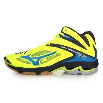 【MIZUNO】WAVE LIGHTNING Z3 MID 男排球鞋-美津濃 螢光黃藍