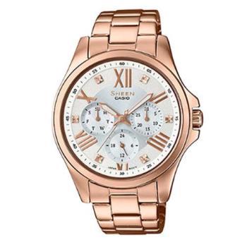 【CASIO】SHEEN羅馬時刻SWAROVSKI簡單俐落腕錶-玫瑰金 (SHE-3806PG-7A)