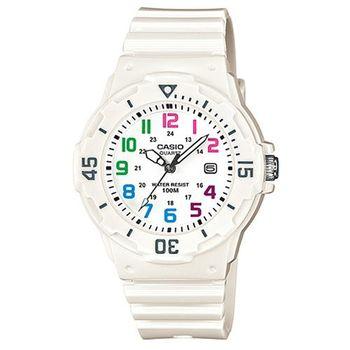 【CASIO】 潛水風運動休閒腕錶-白x彩色時標 (LRW-200H-7B)