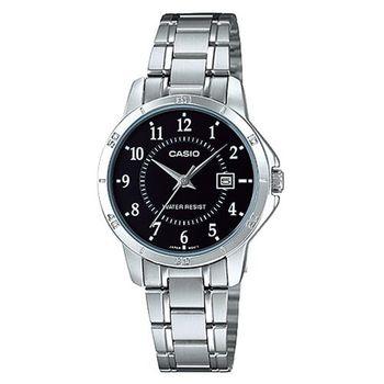 【CASIO】 經典復古簡約巧小指針日期腕錶-數字黑面 (LTP-V004D-1B)