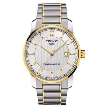 TISSOT T-Classic Powermatic 80鈦金屬機械腕錶-雙色/40mm T0874075503700