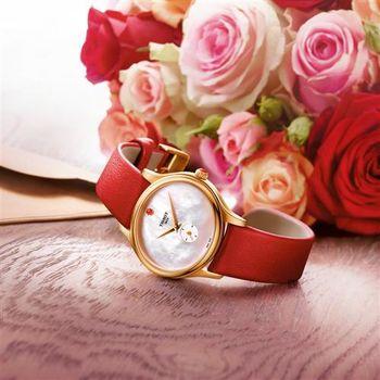 TISSOT 天梭 Bella Ora 臻時系列小秒針女錶-珍珠貝x玫瑰金框/31mm T1033103611101
