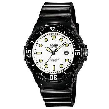 【CASIO】 潛水風運動休閒腕錶-白x/螢光刻度 (LRW-200H-7E1)