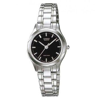 【CASIO】時尚輝煌指針淑女錶-羅馬黑面 (LTP-1275D-1A)