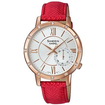 【CASIO】SHEEN 華洛世奇水晶經典簡約三眼腕錶-紅X金框 (SHE-3046GLP-7B)