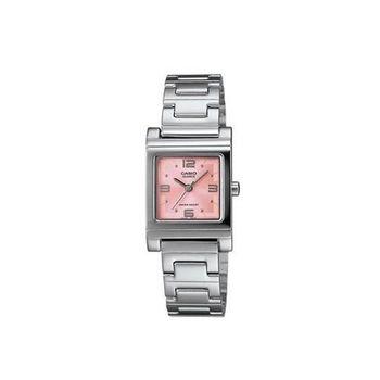 【CASIO】 方采水晶知性女錶腕-粉紅 (LTP-1237D-4A)