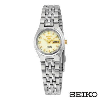SEIKO精工 精工5日本製造夜光金色刻度不鏽鋼女錶 SYMK41J1