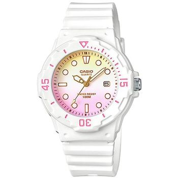 【CASIO】渲染漸層設計迷你潛水風指針運動錶-白x紅粉黃 (LRW-200H-4E2)