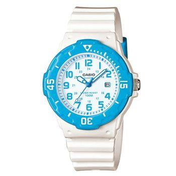 【CASIO】 迷你潛水運動風指針錶-白x藍框 (LRW-200H-2B)