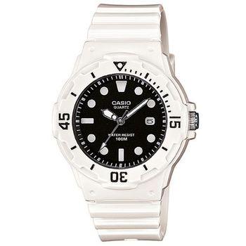 【CASIO】 潛水風運動休閒女錶-黑面白時標 (LRW-200H-1E)