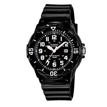 【CASIO】 潛水風運動休閒女錶-黑面白數字 (LRW-200H-1B)