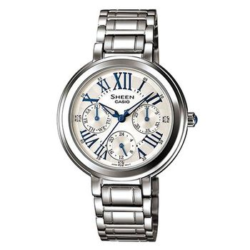 【CASIO】SHEEN 完美閃耀羅馬時刻施華洛世奇腕錶-羅馬白面 (SHE-3034D-7A)