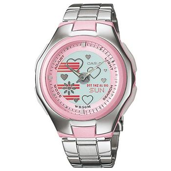 【CASIO】 Popton系列 蜜桃甜心雙顯鋼帶錶 (LCF-10D-4A)