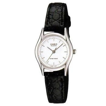 【CASIO】 經典簡約時尚鱷魚紋皮帶腕錶-羅馬白面 (LTP-1094E-7A)