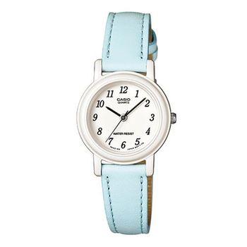 【CASIO】 馬卡龍甜心魅力皮帶腕錶-粉嫩藍X數字白面 (LQ-139L-2B)