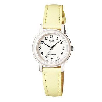 【CASIO】 馬卡龍甜心魅力皮帶腕錶-粉嫩黃X數字白面 (LQ-139L-9B)