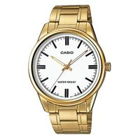【CASIO】 經典復古金時尚簡約指針腕錶-羅馬白面 (MTP-V005G-7A)