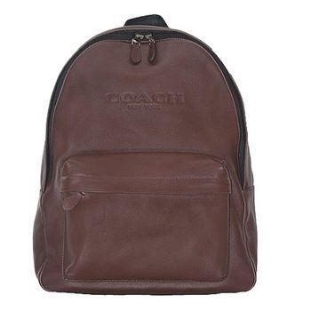 COACH全皮壓字雙肩電腦後背包-咖啡