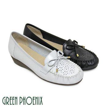 【GREEN PHOENIX】質感蝴蝶結雷射雕花全真皮小坡跟莫卡辛鞋-灰色、黑色