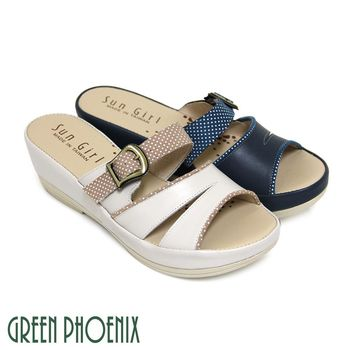 【GREEN PHOENIX】水玉點點仿舊金屬扣鏤空全真皮小坡跟拖鞋-米色、深藍色