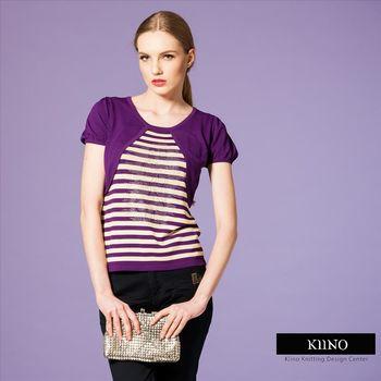 【KIINO】低調優雅對稱色調假兩件針織上衣-共四碼(3841-1002-06)