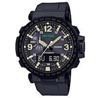 【CASIO】PROTREK粗曠威武戶外活動高亮度照明登山錶-黑框X黑 (PRG-600Y-1)