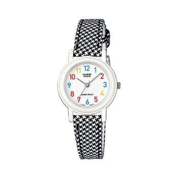 【CASIO】復古新美學格鳥紋氣質指針腕錶-千鳥紋錶帶x白面 (LQ-139LB-1B)