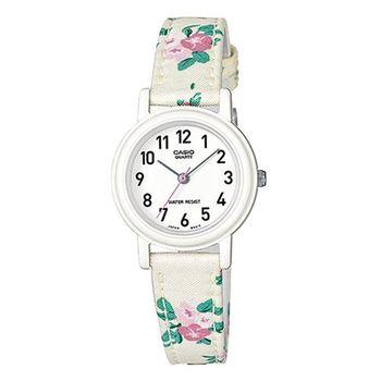 【CASIO】 復古美學花香氣息指針腕錶-花帶x數字白面 (LQ-139LB-7B2)