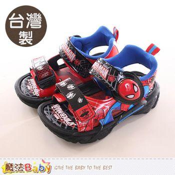 魔法Baby 兒童涼鞋 台灣製蜘蛛人正版閃燈運動涼鞋~sa79130