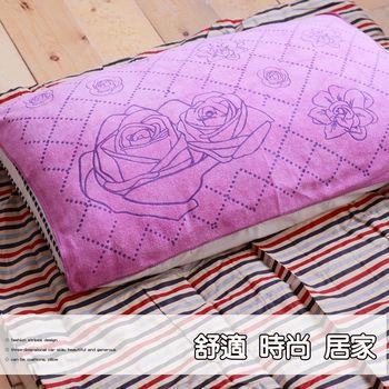 壓花時尚枕巾-紅玫瑰