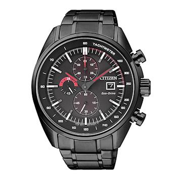 【CITIZEN 星辰】尊爵黑武士光動能鋼帶腕錶-紅x黑/44mm(CA0595-54E)