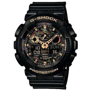 【CASIO】G-SHOCK 超人氣新叢林迷彩軍事戰魂雙顯錶-黑X金 (GA-100CF-1A9)
